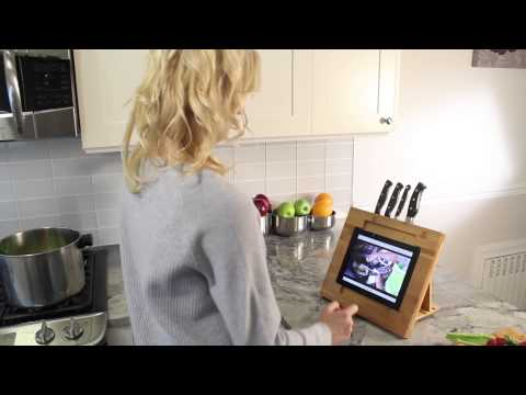 Bamboo Adjustable Kitchen Stand for iPad with Knife Storage