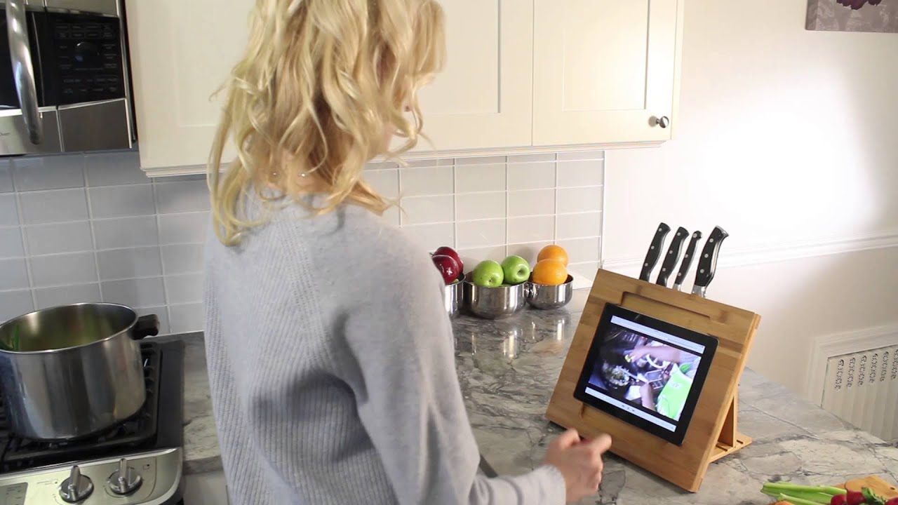 Bamboo Adjustable Kitchen Stand for iPad with Knife