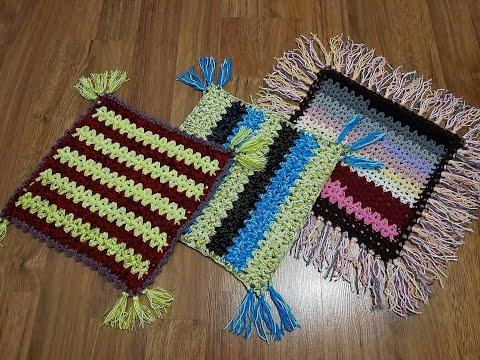 Сидушки на стулья вязанные спицами