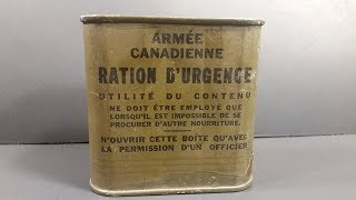 1944 Canadian Army Emergency Ration MRE Review Survival Meal Ready to Eat Tasting Test