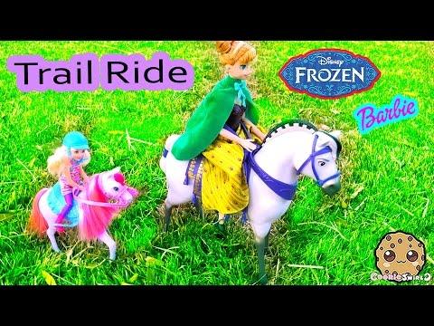 Horseback Riding Trail Ride Disney Frozen Princess Anna And Barbie Chelsea Doll Video - Cookieswirlc
