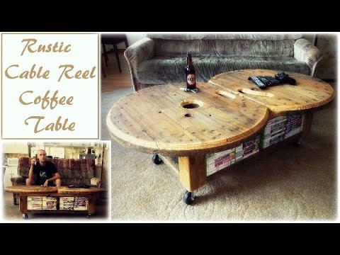rustic cable reel coffee table