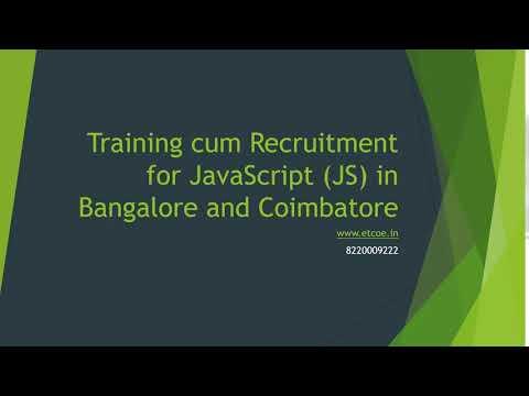 Training cum Recruitment for Javascript JS in Bangalore and Coimbatore-www.etcoe.in