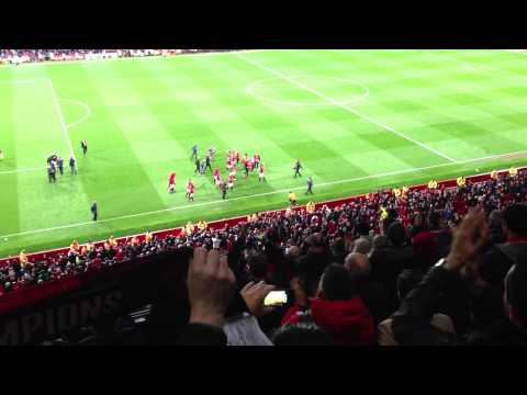 Man United celebrating the 20th title at Old Trafford