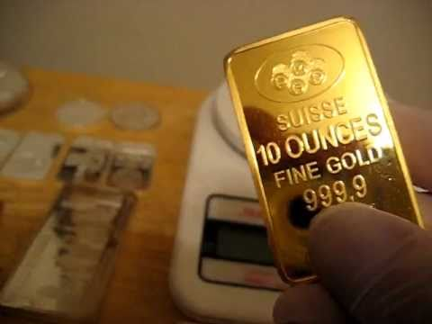 Weighing my 10 troy ounce gold Suisse Pamp