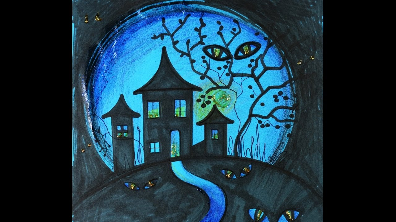 Diy drawing haunted house how to draw haunted house for Haunted house drawing ideas