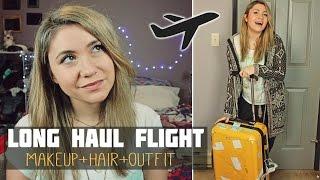 LONG HAUL FLIGHT : Makeup + Hair + Outfit Routine    GRWM