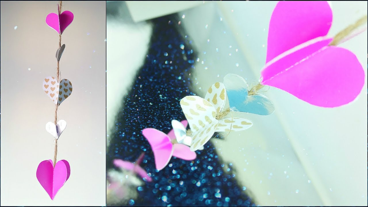 Diy Paper Heart Garland Tutorial Wedding Decorations Valentine S