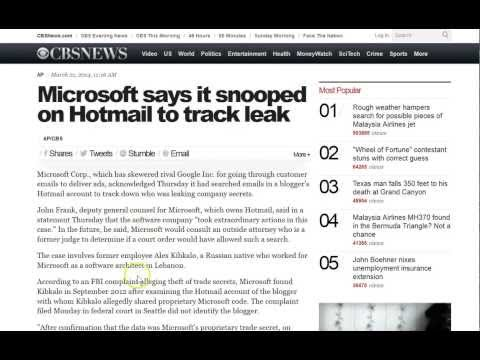 Microsoft Admits Reading Emails Without a Warrant