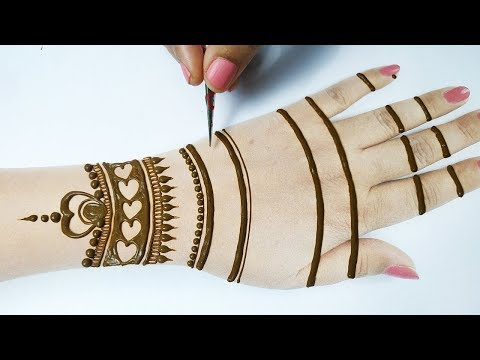 बहुत आसान मेहँदी डिज़ाइन लगाना सीखे - Easy Beautiful Mehndi Design on Backhand for Shadi, Festivals!