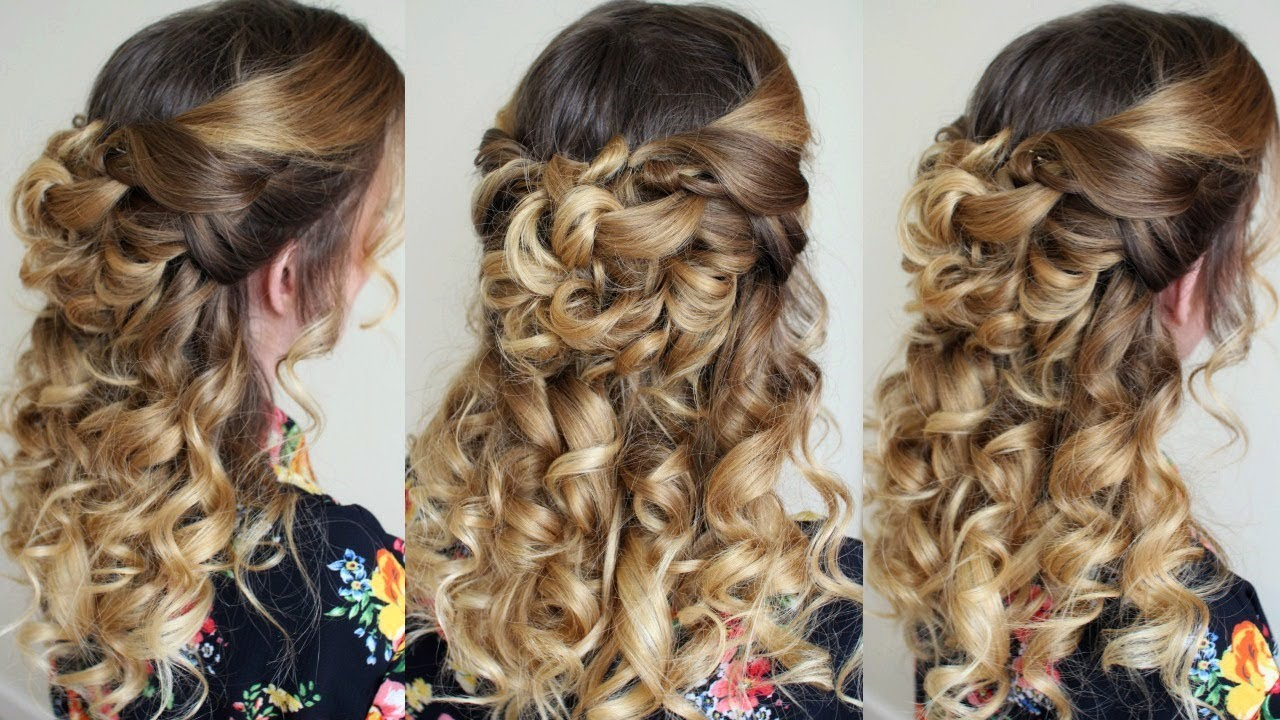 Half Up Half Down Hairstyle with Curls