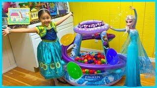 Frozen Surprise Eggs in Ball Pit w/ Anna Doll & Elsa's Magical Wand! Elsa and Anna Toys