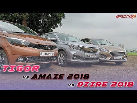 Honda Amaze 2018 vs Maruti Dzire vs Tata Tigor Comparison | Hindi | MotorOctane