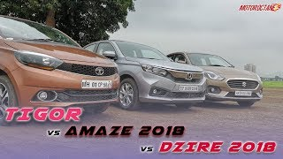 Honda Amaze 2018 vs Maruti Dzire vs Tata Tigor Comparison | Hindi | MotorOctane
