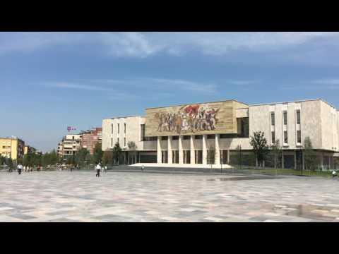 Tirana Skanderbeg Square Panorama day/night