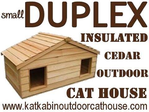 small duplex insulated cedar outdoor cat house youtube