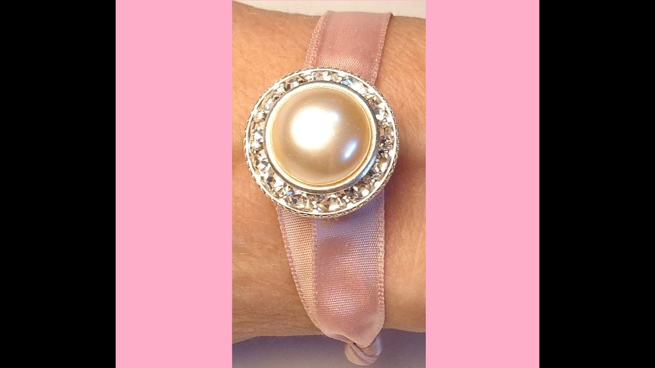 DIY: How to make a Bracelet with satin ribbon & one Czech Button ...