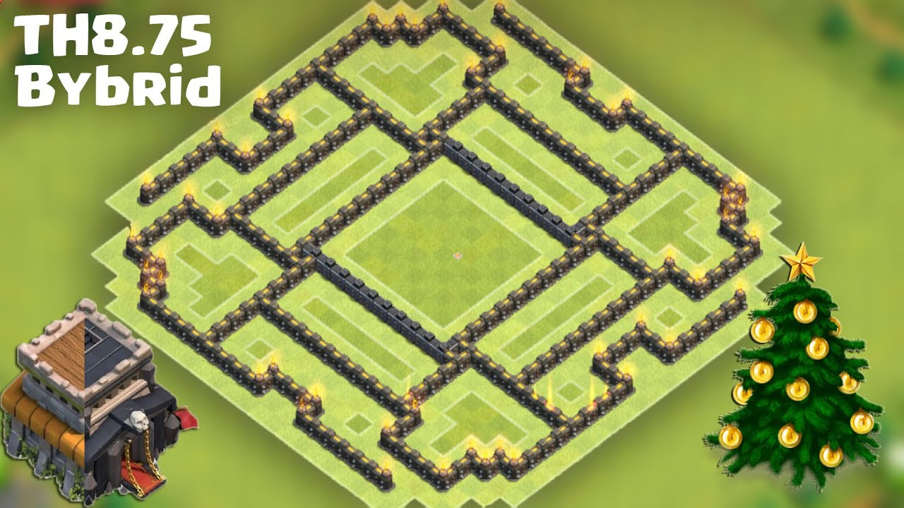 Town hall 8 5 8 75 th9 no x bow hybrid base farming after big