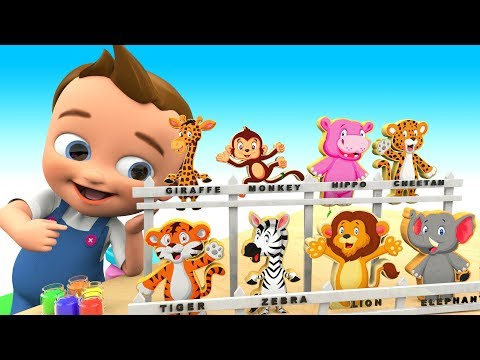 Learn Colors for Children with Baby Hand Paint Learn Zoo Animals Wooden Toy Set 3D Kids Educational