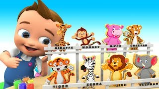 Baby Hand Paint Zoo Animals Wooden Toy Set 3D | Learn Animals Names for Kids Toys Educational