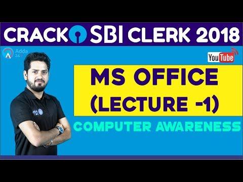 SBI CLERK 2018 | MS OFFICE (Lecture -1) | Computer Awareness