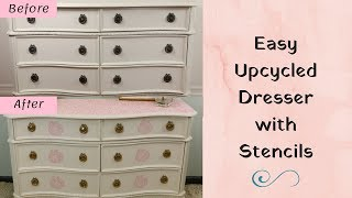 How to Makeover A Plain White Dresser Using Stencils!