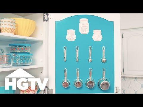 Cabinet Door Measuring Cup Storage | HGTV