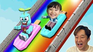 아이스크림을 타고 슬라이드로 떨어져요! [로블록스] 워터슬라이드 WATER SLIDE OBBY! | 라임게임 LimeTube