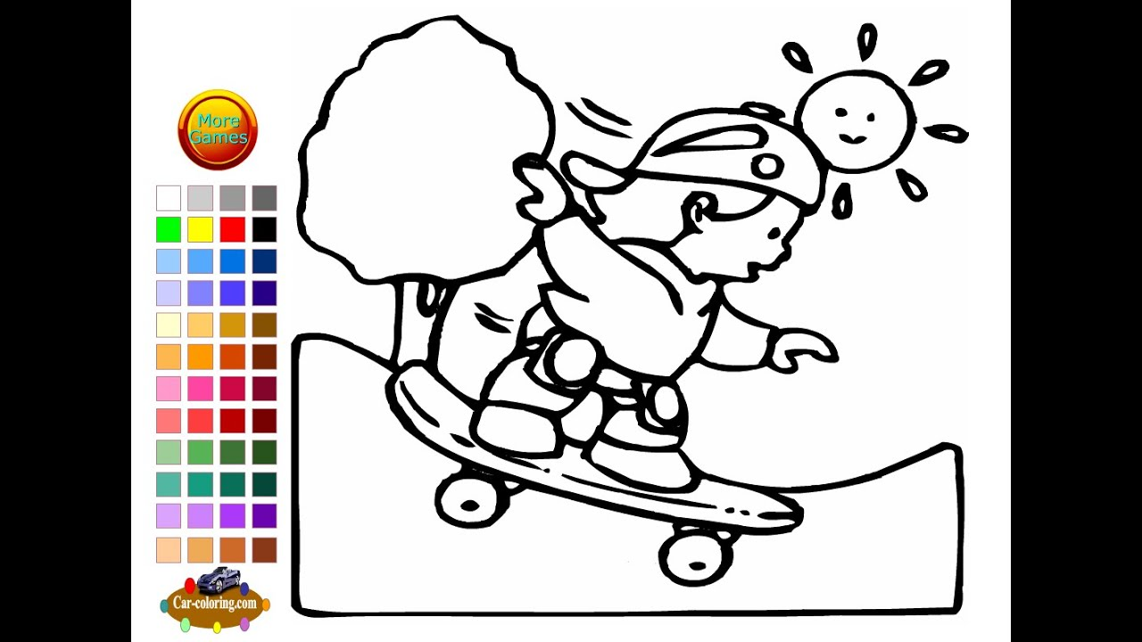 Skateboarding Coloring Pages For Kids - Skateboarding Coloring Pages ...