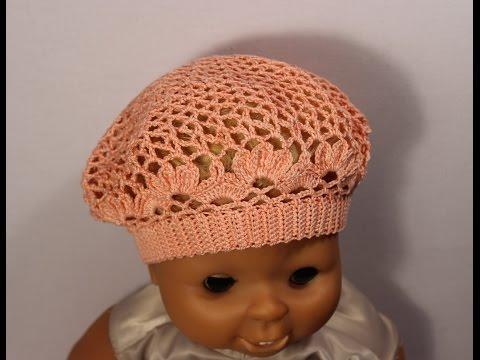 Как связать детский летний берет крючком.How to crochet beret #crochet_beret Вяжем по схемам
