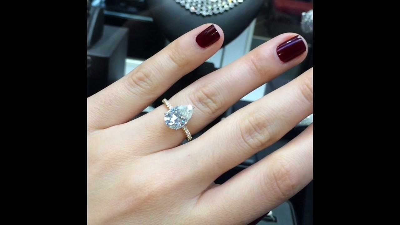 3 Carat Pear Shape Moissanite 2 Tone Engagement Ring Youtube
