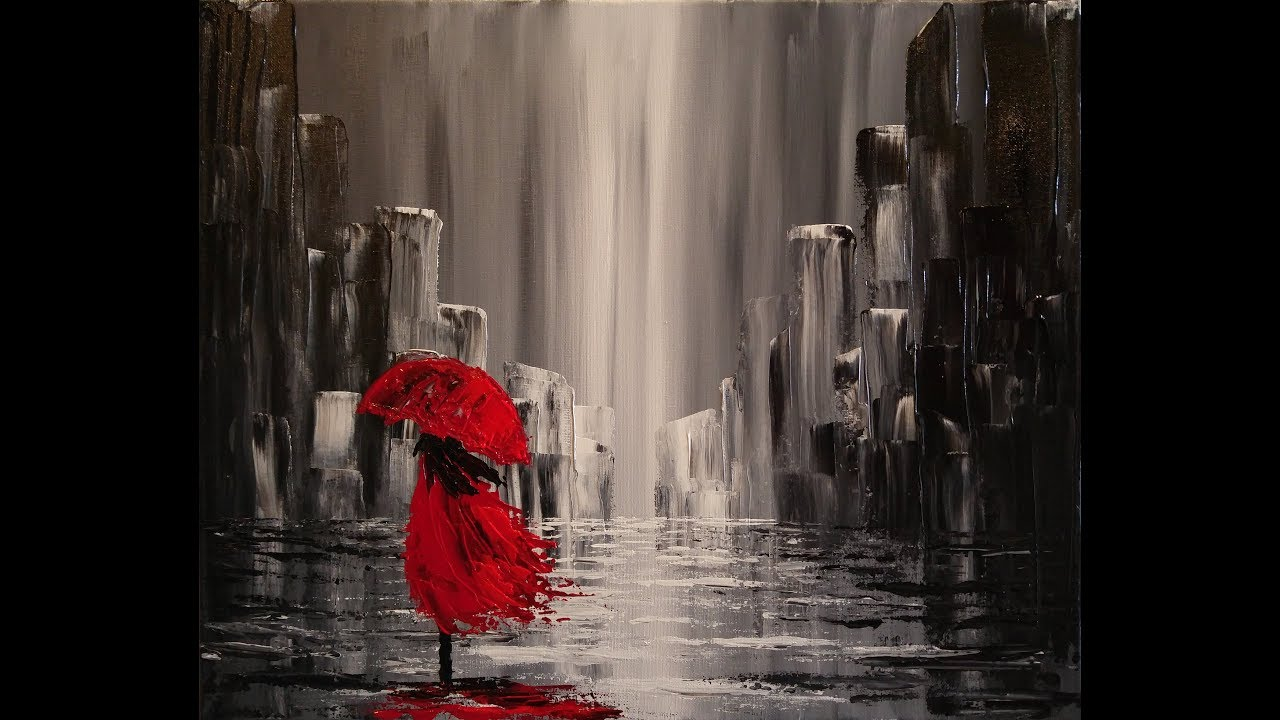 Black And White Feature Wall Wallpaper A Walk In The Rain Step By Step Acrylic Painting On Canvas