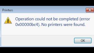 mscms.dll is missing (error 0x00000bc4) No printers were found