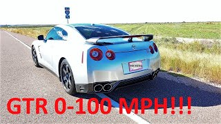 Demonstration of the Nissan GTR 0-100 mph acceleration without laun...