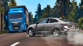 BeamNG Drive - АДская Авария Hyundai Solaris На Скорости 190 км/ч