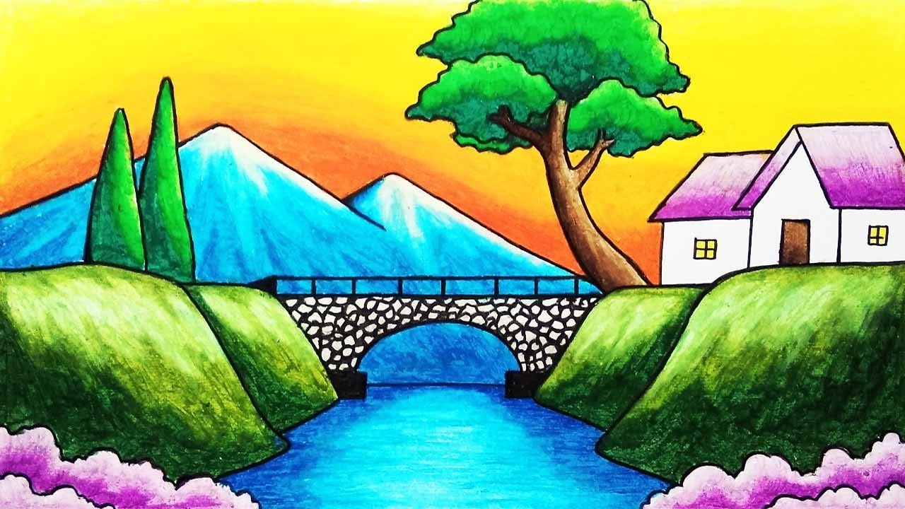 How to Draw Easy Scenery of Mountain, Bridge and River Step by Step | Simple Nature Scenery Drawing