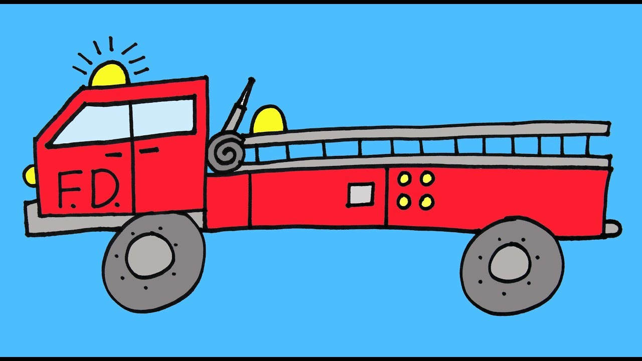 how to draw a fire truck firetruck step by step drawing lesson for