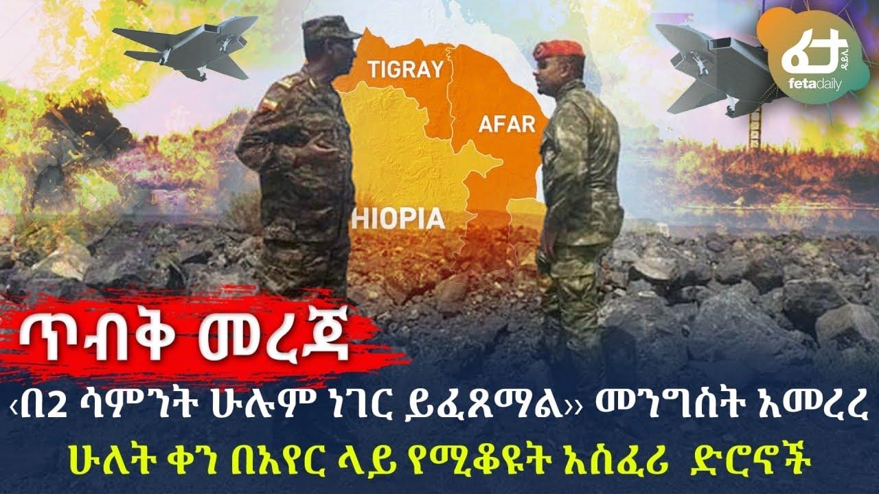 Ethiopia - ጥብቅ መረጃ - ‹‹በ2 ሳምንት ሁሉም ነገር ይፈጸማል›› መንግስት አመረረሁለት ቀን በአየር ላይ የሚቆዩት አስፈሪ ድሮኖች