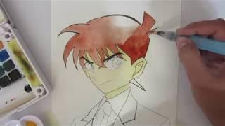 工藤 新   名探偵コナン watercolor drawing