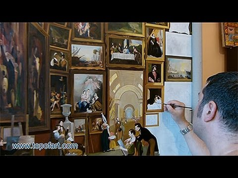 Art Reproduction (Morse - Gallery of the Louvre) Hand-Painted Step by Step