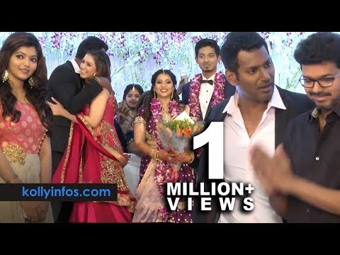 Wow Full video !! Rajinikanth, Vijay, Hansika More Celebrities at Vishal 's sister Wedding Reception