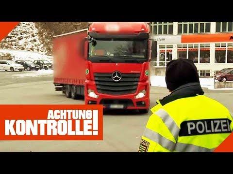 Kein Reifenprofil mehr! Polizei verbietet LKW-Fahrer die Weiterfahrt!   Achtung Kontrolle