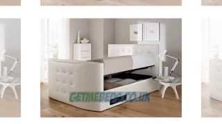 Atlantis White Leather Ottoman Tv Bed