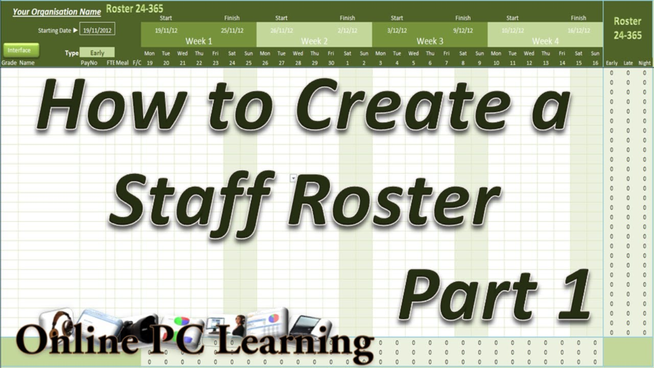 Roster - How to Create a Roster Template Part 1 - Roster tutorial ...