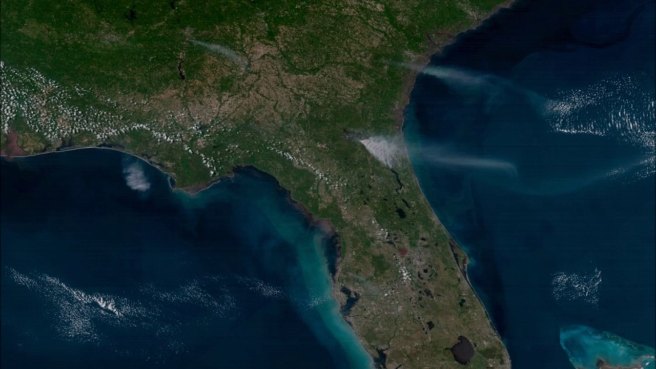 Goes 16 Geocolor Imagery Of West Mims Fire Youtube