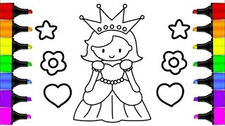 How to draw a QUEEN | Drawing and Coloring Pages Learn Colors for Kids