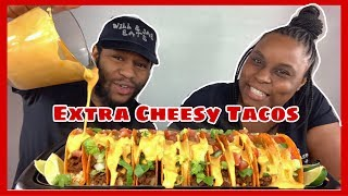 EXTRA CHEESY NACHO CHEESE TACOS MUKBANG!