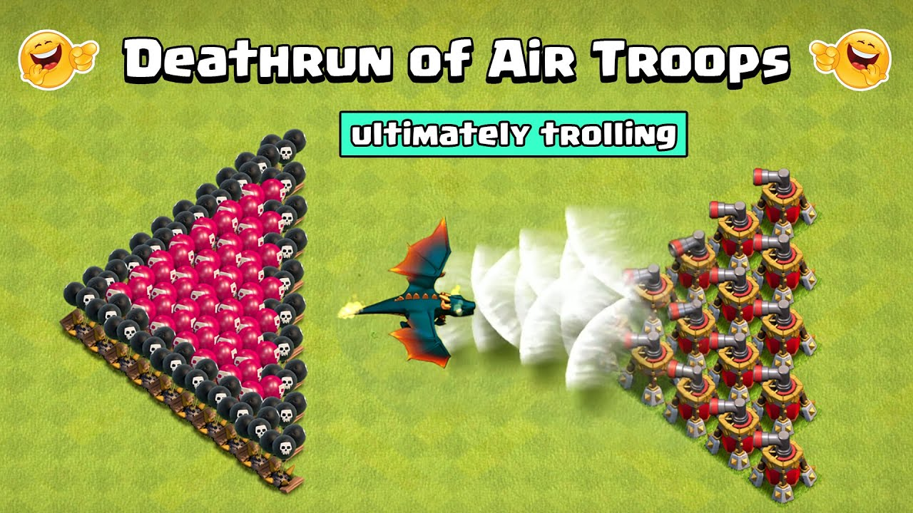 DEATHRUN of Air Troops in Clash of Clans | Air Troops Vs Air Traps | Clash of Clans