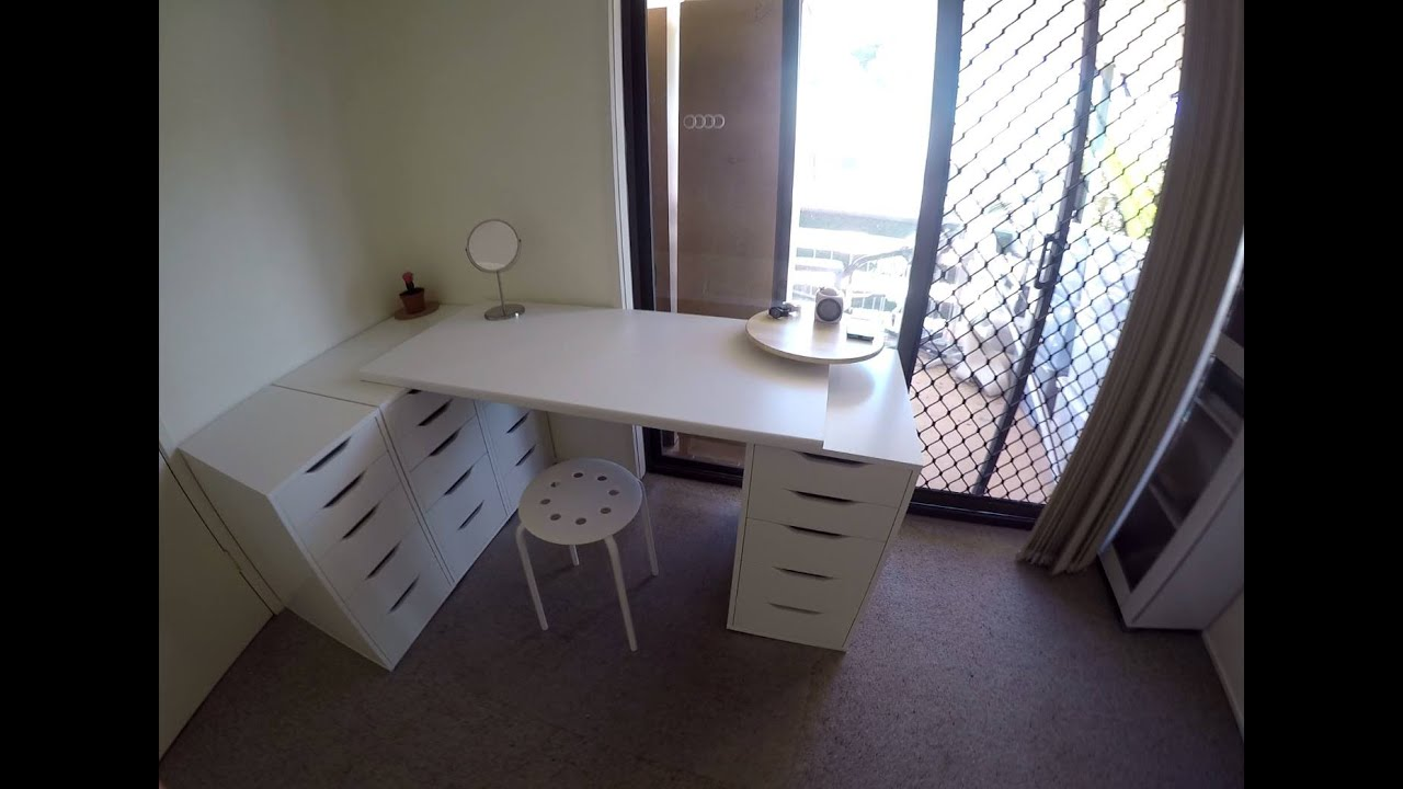 Merveilleux Small Bedroom Organisation / Makeup Vanity. Ikea Alex Drawers   YouTube