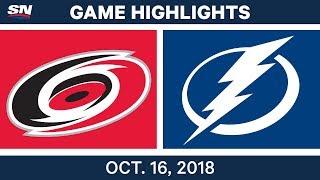 NHL Highlights   Hurricanes vs. Lightning - Oct. 16, 2018